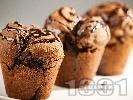Рецепта Какаови мъфини със сушени боровинки, шоколад и мляко